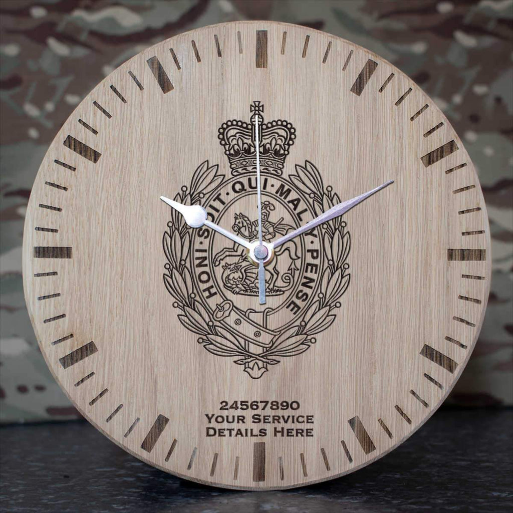 Royal Regiment of Fusiliers Crest Oak Clock