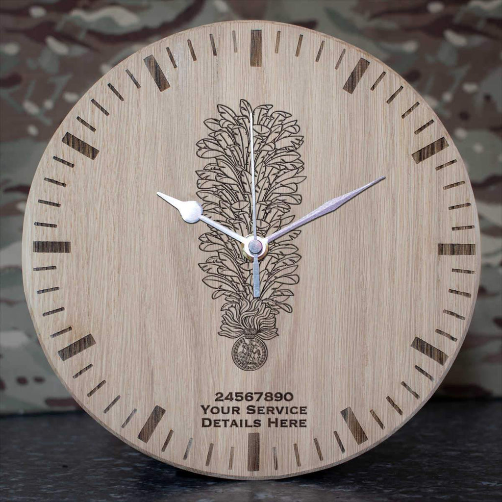 Royal Regiment of Fusiliers Hackle Oak Clock