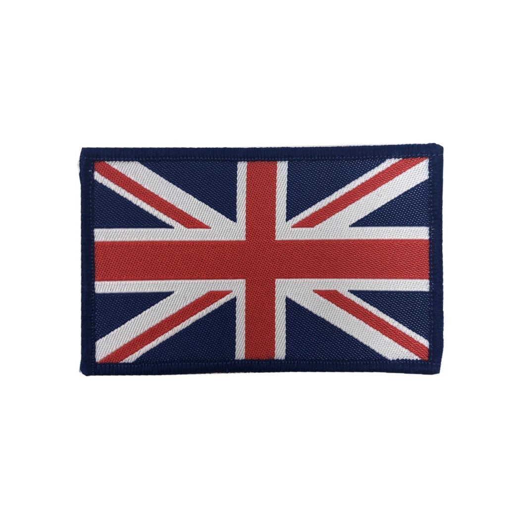 Large Union Jack GB Patch-Sew on Velcro -  Blue -  80 x 50mm - Pair
