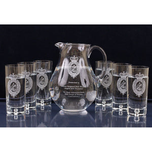 The Royal Regiment of Fusiliers Engraved Water Jug and Glasses