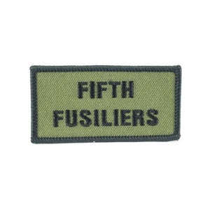 Shoulder Patch - Fifth Fusiliers - Black on Olive - Pack of 5