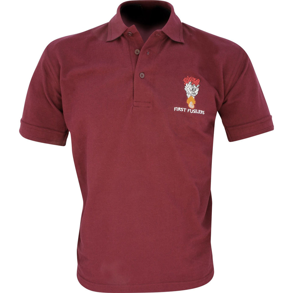Embroidered Polo Shirt - Rose - First Fusiliers - WHILST STOCKS LAST
