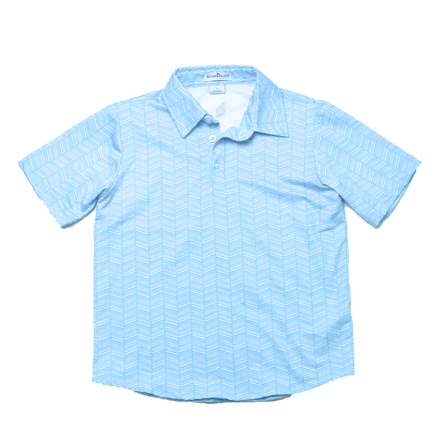 Light Blue Herringbone Polo Short Sleeve Shirt