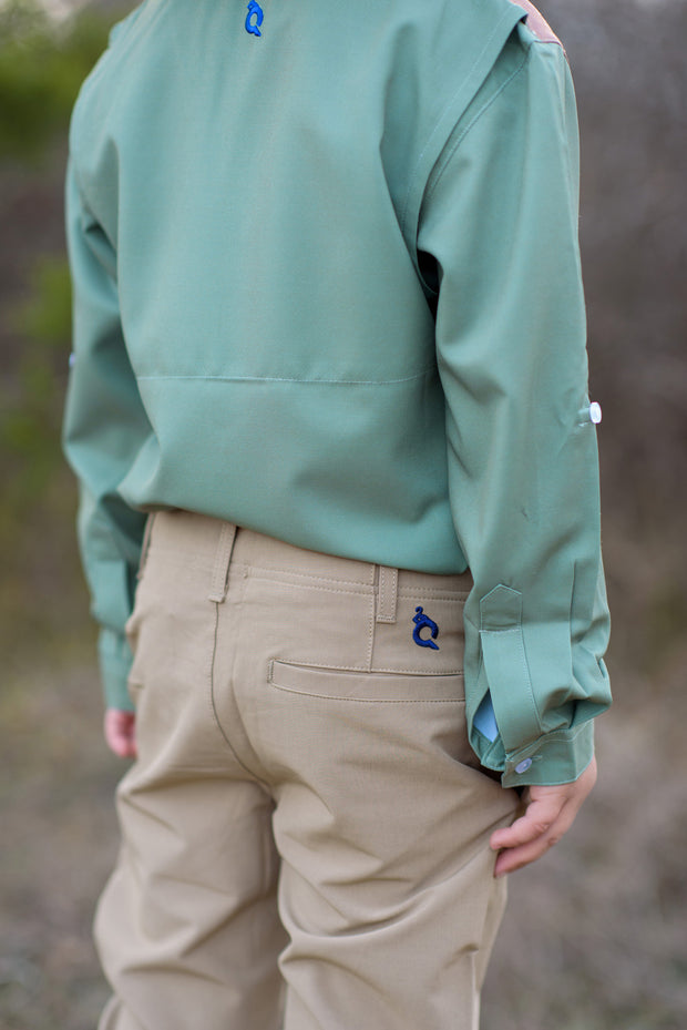 Sage Green & Khaki Long Sleeve Shirt