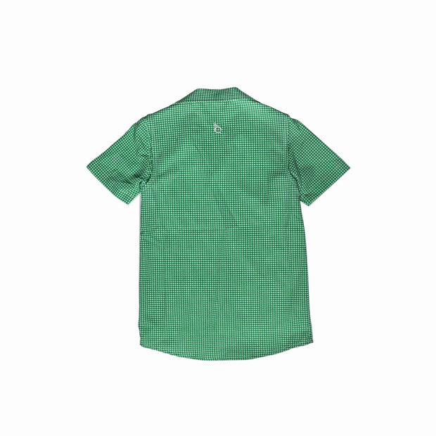 *Gameday Guayabera Dress Green Gingham/White
