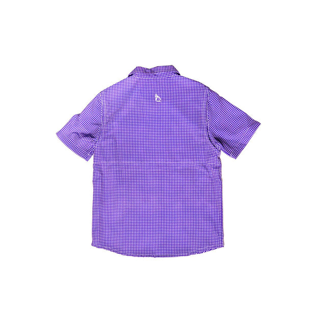 Guayabera – Purple & White Gameday Gingham Short Sleeve Shirt