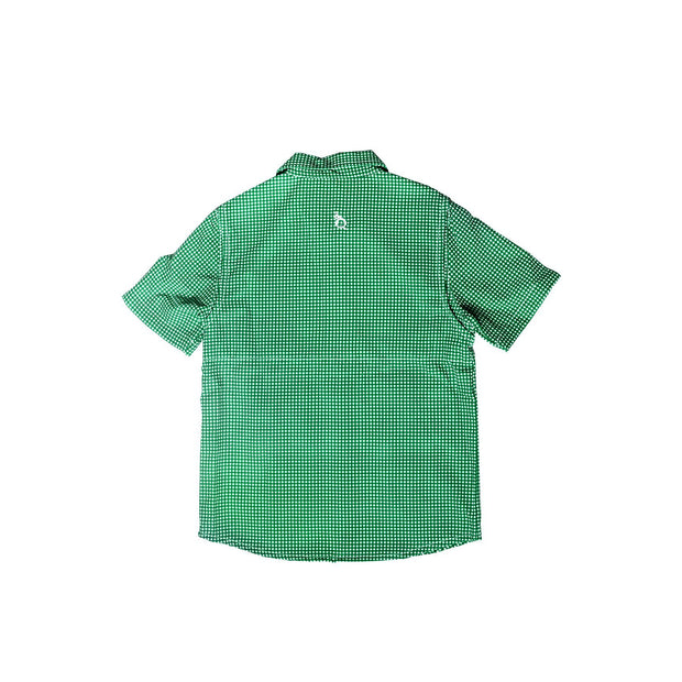 Guayabera - Gameday Green & White Gingham Short Sleeve Shirt