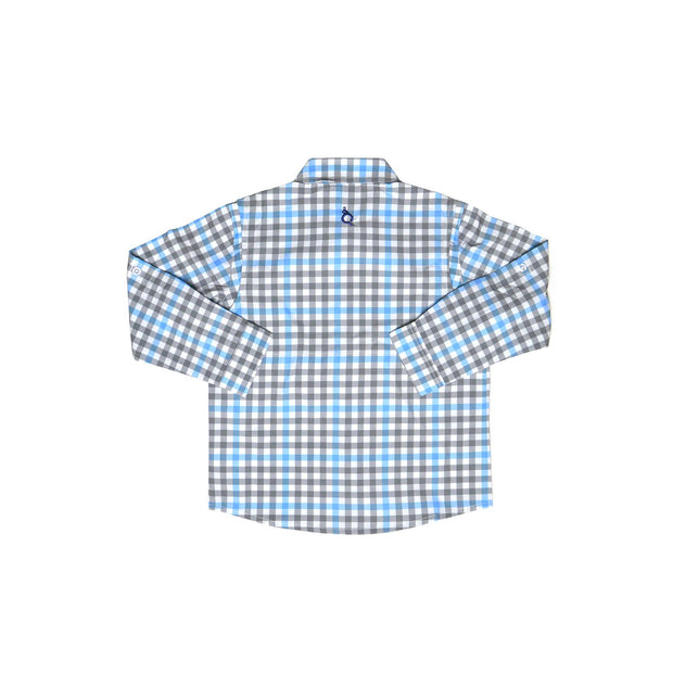 *Gray & Light Blue Plaid Long Sleeve Shirt