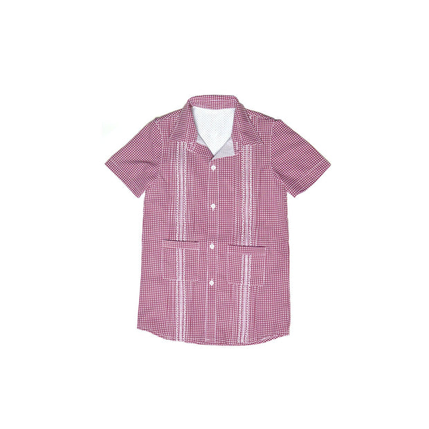 Guayabera - Maroon & White Gameday Gingham Dress