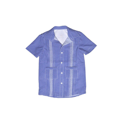*Gameday Guayabera Dress Navy Gingham/White