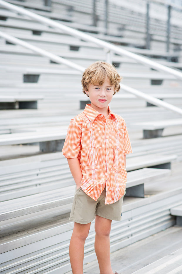 *Gameday Guayabera Burnt Orange Gingham/White