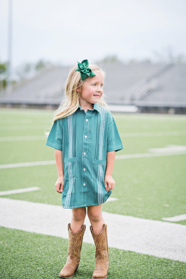 Guayabera - Green & White Gameday Gingham Dress