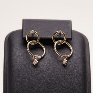 DIAMOND DOUBLE HOOP DANGLE EARRINGS