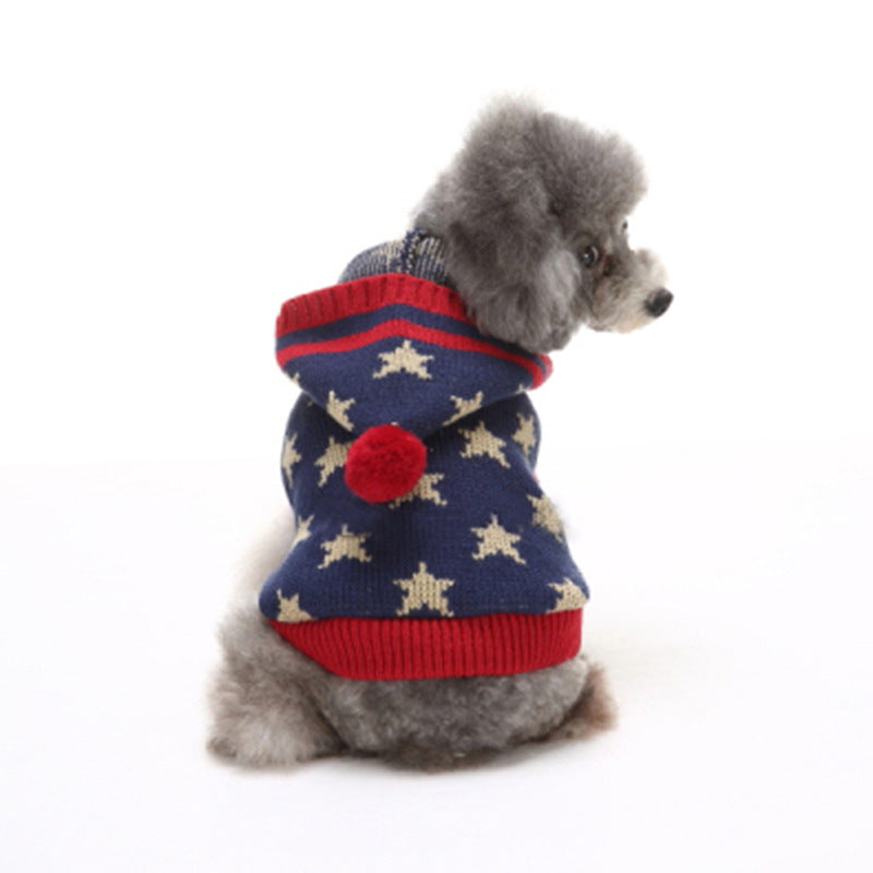 Bone Stripes High Collar Christmas Snowflake Small Puppy Sweater - Faciipet