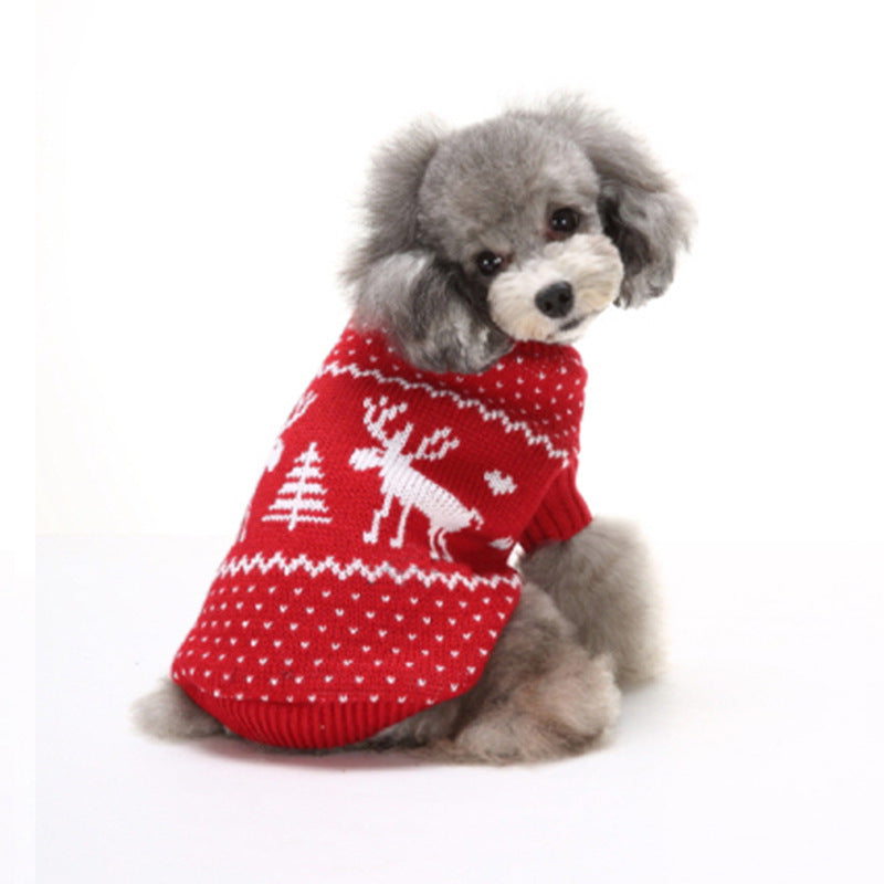 Snowflake Elk Christmas Small Dog Sweaters - Faciipet