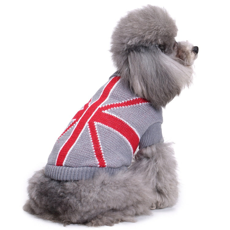 Bone Stripes High Collar Small Puppy Sweater - Faciipet