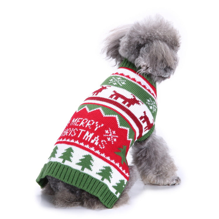 Striped High Collar Christmas Snowflake Dog Sweater - Faciipet