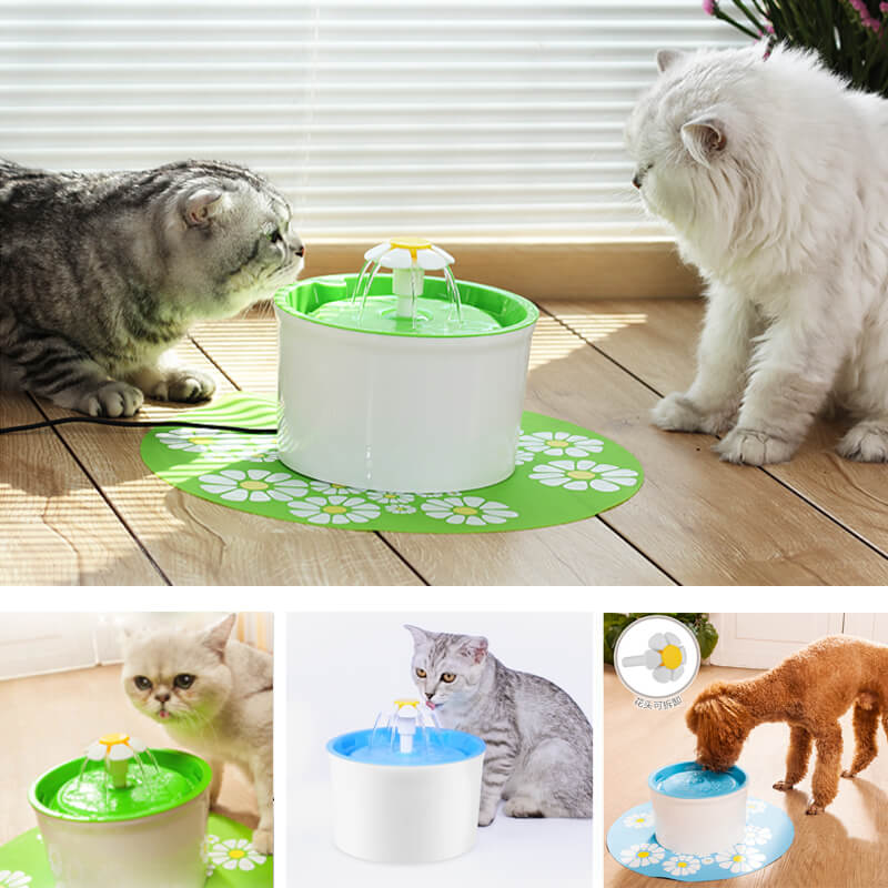 Automatic Cat Dog Water Fountain With Mat - Faciipet