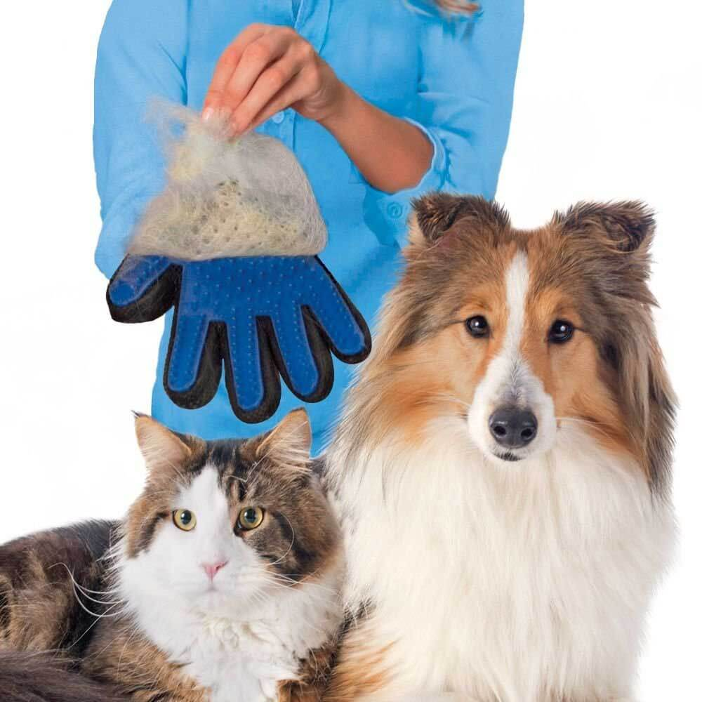 Pet Grooming Glove Brush For Cats Dogs - One Pair - Faciipet