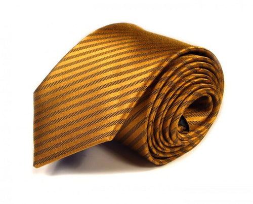 Gold Woven Silk Tie by Focus Ties (The Diablo - Premium High Quality Silk Business / Wedding Necktie)