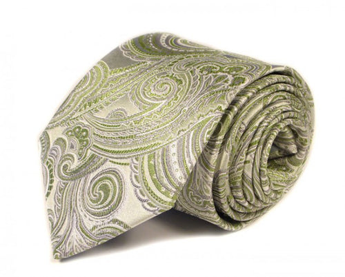 Green Paisley Silk Tie by Focus Ties (The Elise - Premium High Quality Silk Business / Wedding Necktie)