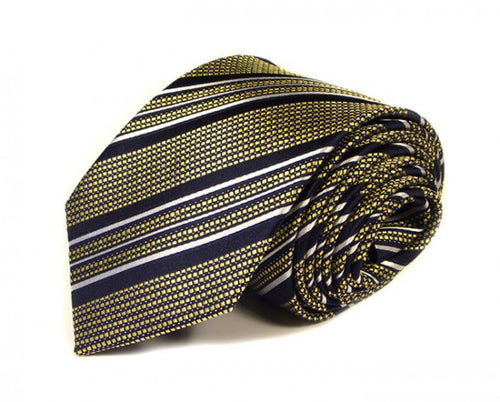 Black Striped Silk Tie by Focus Ties (The Spitfire - Premium High Quality Silk Business / Wedding Necktie)