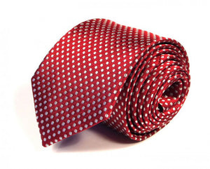 Red Dotted Silk Tie by Focus Ties (The Altair - Premium High Quality Silk Business / Wedding Necktie)