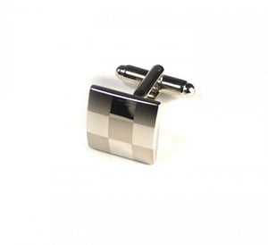 Silver Two Tone Large Checker Plate Cufflinks (Premium High Quality Business / Wedding Accessories by Focus Ties)