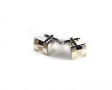 Load image into Gallery viewer, Silver Two Tone Large Checker Plate Cufflinks