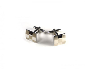Silver Two Tone Large Checker Plate Cufflinks