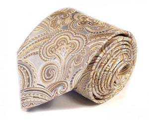 Gold Paisley Silk Tie by Focus Ties (The Esprit - Premium High Quality Silk Business / Wedding Necktie)