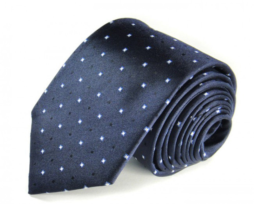 Blue Dotted Silk Tie by Focus Ties (The Schumacher - Premium High Quality Silk Business / Wedding Necktie)