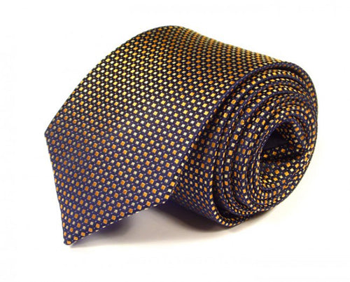 Gold Dotted, Woven Silk Tie by Focus Ties (The Cadillac - Premium High Quality Silk Business / Wedding Necktie)