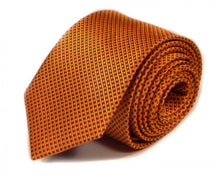 Load image into Gallery viewer, Orange Solid, Woven Silk Tie by Focus Ties (The Viper - Premium High Quality Silk Business / Wedding Necktie)
