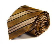 Load image into Gallery viewer, Gold Striped Silk Tie by Focus Ties (The Mustang - Premium High Quality Silk Business / Wedding Necktie)