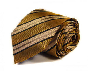 Gold Striped Silk Tie by Focus Ties (The Mustang - Premium High Quality Silk Business / Wedding Necktie)