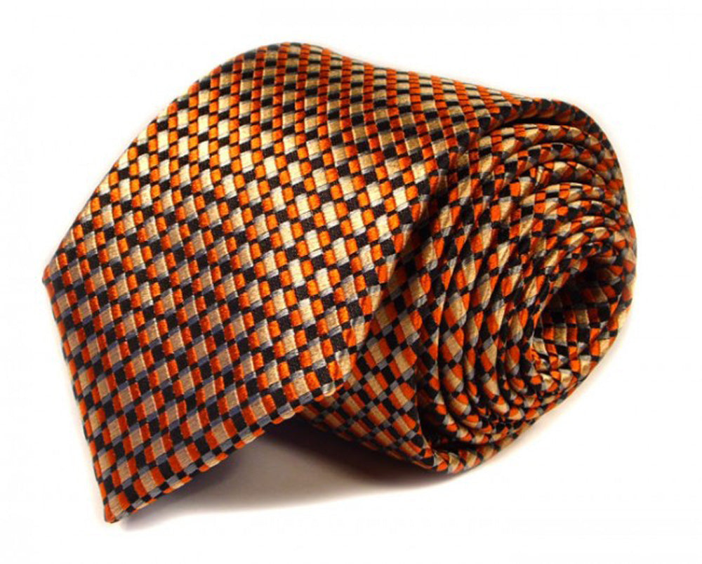 Gold Dotted, Woven Silk Tie by Focus Ties (The Modena - Premium High Quality Silk Business / Wedding Necktie)
