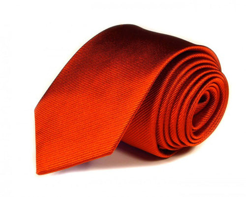 Orange Solid, Woven Silk Tie by Focus Ties (The Corvette - Premium High Quality Silk Business / Wedding Necktie)
