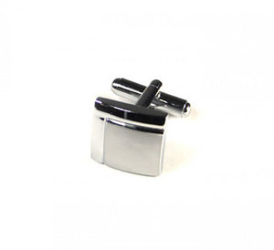 Silver Two Tone Quarter Cufflinks (Premium High Quality Business / Wedding Accessories by Focus Ties)
