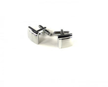 Load image into Gallery viewer, Silver Two Tone Quarter Cufflinks