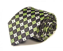 Load image into Gallery viewer, Green Woven Silk Tie by Focus Ties (The Thunderbird - Premium High Quality Silk Business / Wedding Necktie)