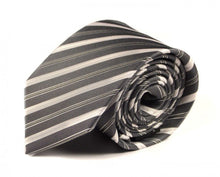 Load image into Gallery viewer, Silver Striped Silk Tie by Focus Ties (The Heard - Premium High Quality Silk Business / Wedding Necktie)