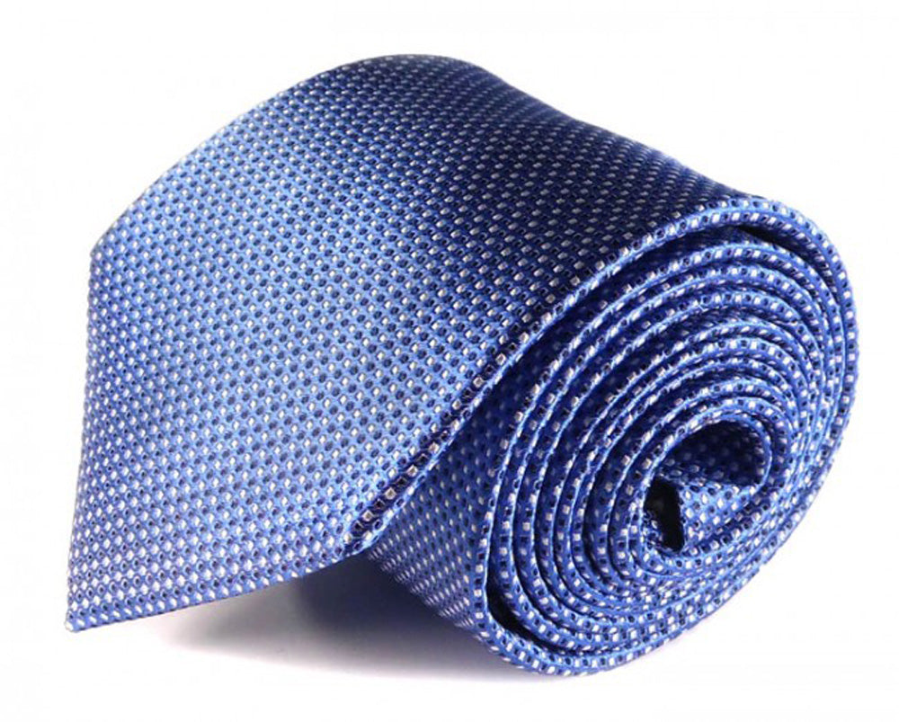 Blue Dotted Silk Tie by Focus Ties (The Ares - Premium High Quality Silk Business / Wedding Necktie)