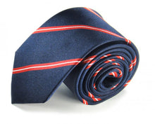 Load image into Gallery viewer, Blue Striped Silk Tie by Focus Ties (The Yangtze - Premium High Quality Silk Business / Wedding Necktie)