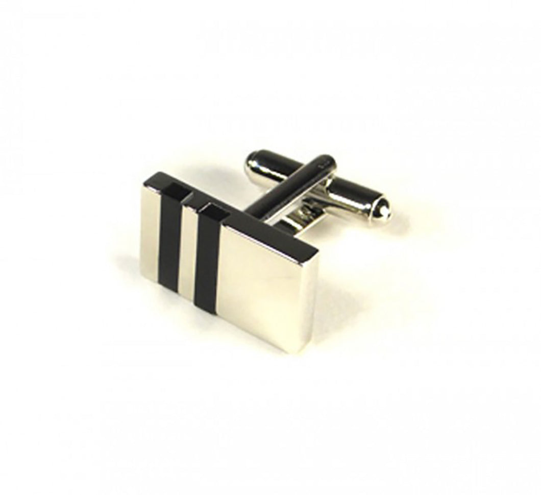 Black Two Stripe Rectangle Cufflinks (Premium High Quality Business / Wedding Accessories by Focus Ties)