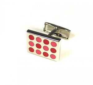 Pink Red Dotted Cufflinks (Premium High Quality Business / Wedding Accessories by Focus Ties)