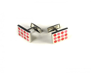 Pink Red Dotted Cufflinks