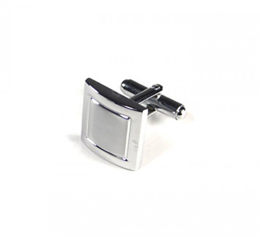 Silver Two Tone Square Cufflinks (Premium High Quality Business / Wedding Accessories by Focus Ties)