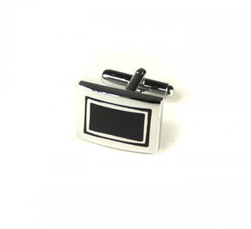 Black Rectangle Squares Cufflinks (Premium High Quality Business / Wedding Accessories by Focus Ties)