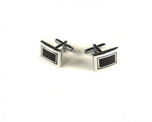 Load image into Gallery viewer, Black Rectangle Squares Cufflinks